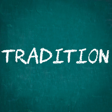 tradition: TRADITION written on chalkboard Stock Photo