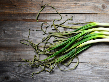 bulb and stem vegetables: Dried spring onion on wooden background