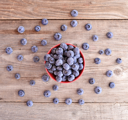 Fresh blueberry on wooden background Stock Photo