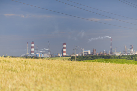 Chemical industry and wheat field