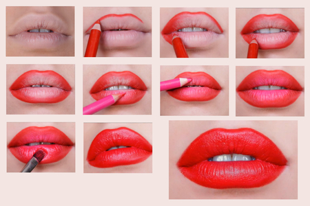 Sequence of coloring of lips makeup