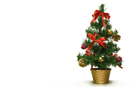Festively decorated New Years fir-tree Stock Photo