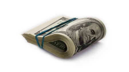 Folded hundred dollar bills Stock Photo