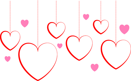 Valentines day background with hearts on white background Illustration