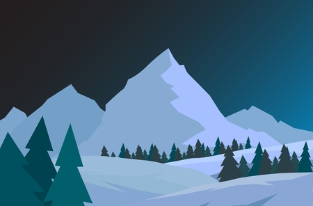 Beautiful Christmas winter landscape background. Night Christmas forest with mountains. New year vector card