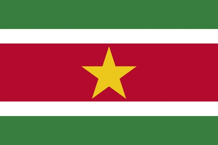 The Flag Of Suriname. Color and aspect ratio are observed. Ilustração