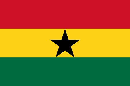 The Flag Of Ghana. Color and aspect ratio are observed. Ilustração