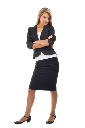 Full length portrait of young business woman with crossed arms smiling, isolated on white background Stock Photo - 10826993