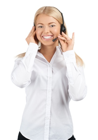 telephonist: Portrait of a pretty young female call center employee wearing a headset, against white background Stock Photo