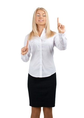 fingers on top: Young blond businesswoman pressing the touchscreen button. Isolated on white.