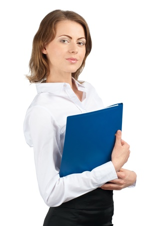 Portrait of young attractive businesswoman with blue folder in her hands, isolated on white background photo