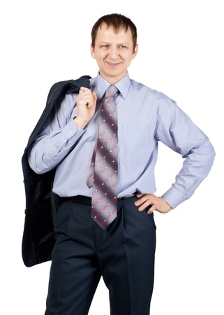 Confident businessman standing and holding his jacket, over white background Stock Photo - 10827493