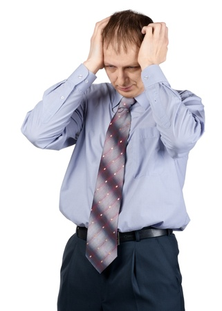 stress testing: Portrait of a worried businessman having a headache against white background