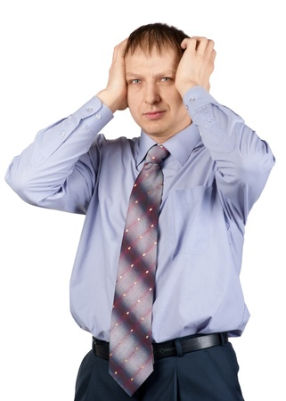 Portrait of a worried businessman having a headache against white background Stock Photo - 10828342