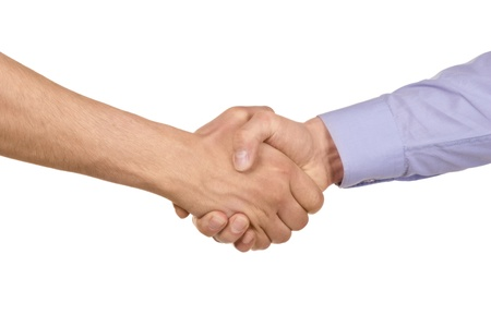 teamwork hands: Shaking hands of two businessmen, isolated on white