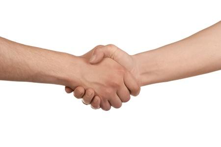 stretta di mano: Stretta di mano di due persone di sesso maschile, isolati su bianco Archivio Fotografico