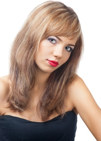 Portrait of  pretty young woman with red lipstick looking at camera, against white background Stock Photo - 10841242