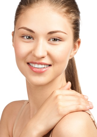 Close-up portrait of beautiful young woman with perfect healthy skin and natural makeup, isolated on white background Stock Photo - 10844790