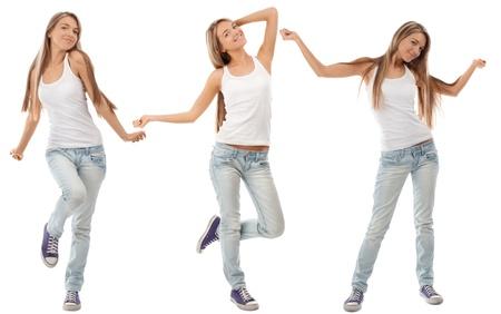 ragazze che ballano: Collage di donna felice eccitato giovane con le braccia estese in diverse prospettive. Su sfondo bianco Archivio Fotografico