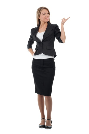 strict: Full length portrait of attractive business woman pointing, isolated on white background