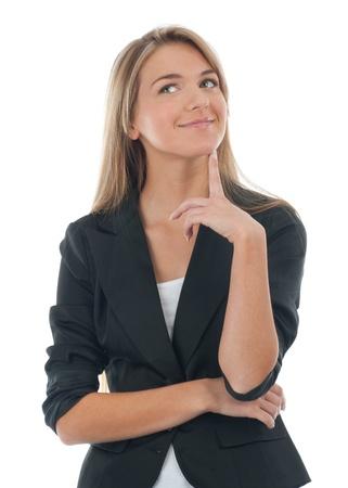 frau denken: Portr�t von nachdenkliche junge Frau sucht in der Ecke, isoliert auf wei�em Hintergrund