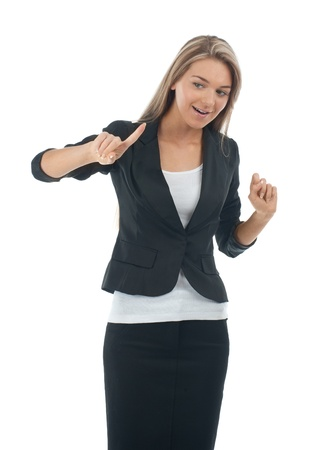 Young blond businesswoman pressing the touchscreen button. Isolated on white.