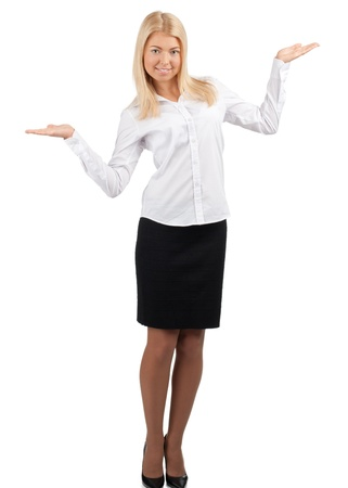 Attractive businesswoman showing something on the palms of her hands, isolated on white photo