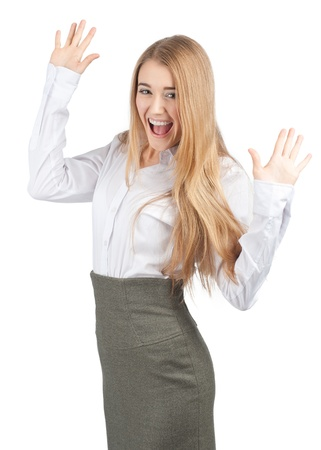 hands up: Portrait of successful young businesswoman raising her arms in joy and smiling. Isolated on white background