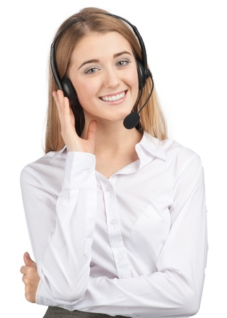 Portrait of beautiful call center operator with headset. Isolated on white background photo