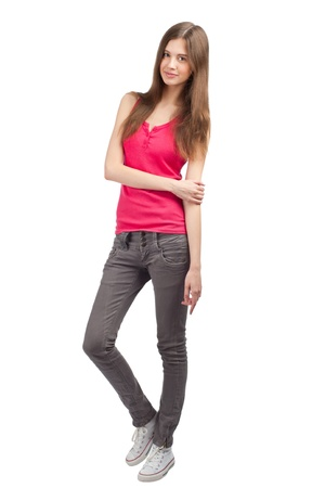 casua: Full length portrait of pretty young woman in casua wearl, against white background