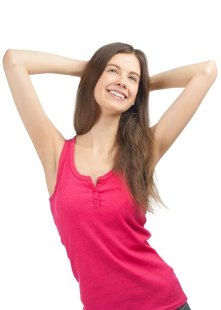 arm extended: Portrait of lovely young woman in casual wear smiling. Over white background Stock Photo