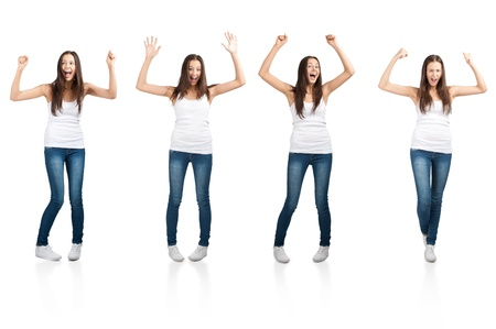 Collage of happy excited young woman with arms extended  in different perspectives. Over white background photo