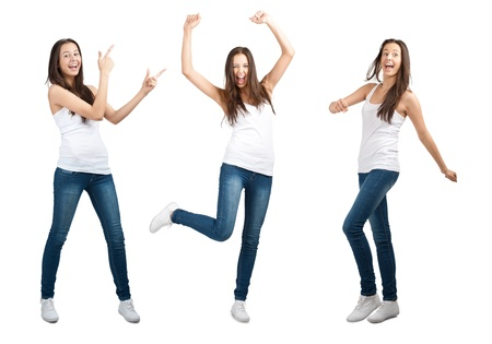 agape: Collage of happy excited young woman with arms extended  in different perspectives. Over white background Stock Photo