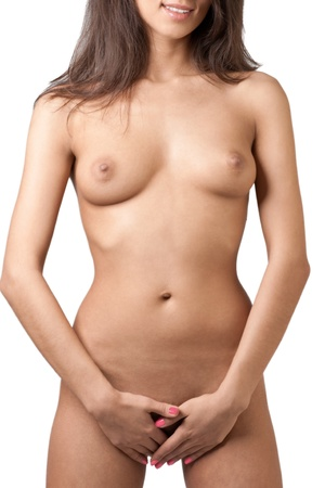 beautiful breasts: Beautiful nude women over white background Stock Photo