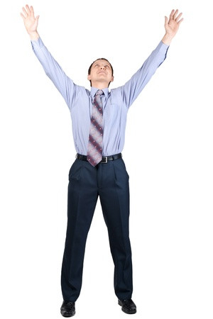 arms raised: Full length portrait of cheerful businessman with hands raised in victory, over white background