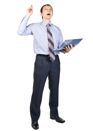 Full length portrait of excited businessman with finger pointing up, isolated on white Stock Photo - 10947281