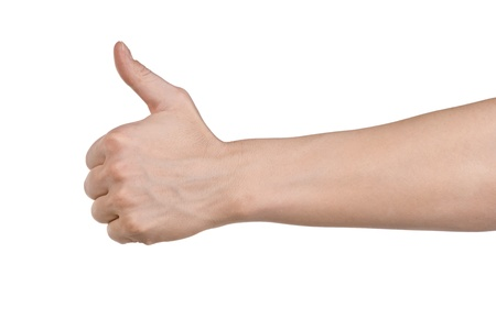 Male hand showing thumbs up sign against white background Stock Photo - 10947295