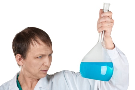 Portrait of male researcher carrying out scientific research, over white background  photo