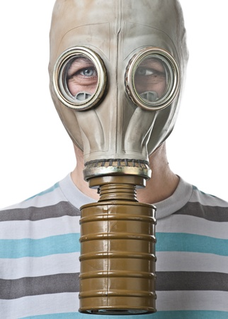 squinting: Man in gas mask squinting against white background