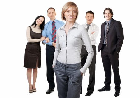 Confident businesswoman and four businesspeople posing over white background photo