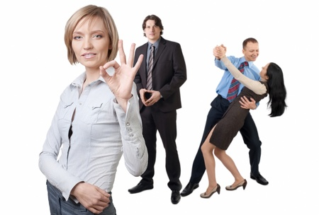 Successful businesswoman and her colleagues posing over white background Stock Photo - 10947606