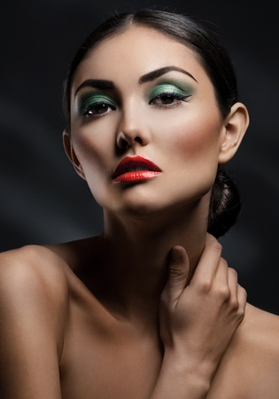 Close-up portrait of beautiful elegant woman with bright fashion make-up Stock Photo - 10947884