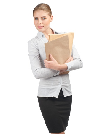 Confident young business woman with documents, isolated on white background photo