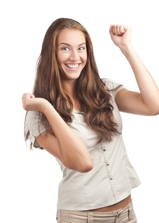 agape: Portrait of happy excited woman celebrating her success. Over white background Stock Photo