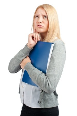 uneasiness: Worried business woman with documents, over white background.