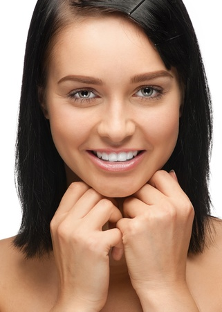 Close-up portrait of beautiful young woman with white teeth, isolated on white background Stock Photo - 10998251