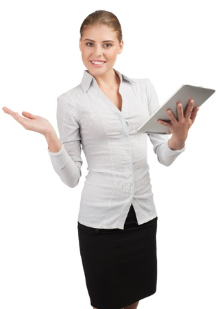 Attractive young  business woman holding electronic tablet  photo