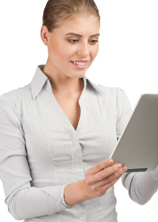 Confident young  business woman using electronic tablet  photo
