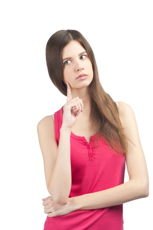 Portrait of young lovely woman thinking and looking away, isolated on white Stock Photo