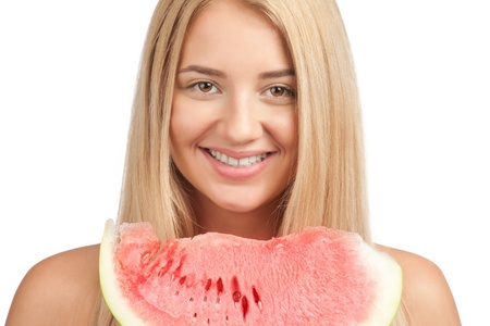 Young beautiful woman with slice of fresh watermelon photo